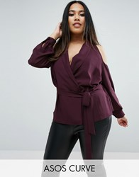 Asos Curve Wrap Blouse With Shawl Collar And Cold Shoulder Mulberry Purple