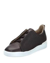 Ermenegildo Zegna Maserati Triple Stitch Leather Low Top Sneaker Brown