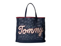 Tommy Hilfiger Straw Tote Navy Tote Handbags