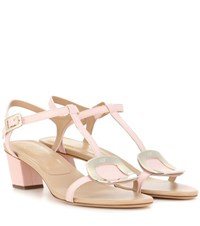 Roger Vivier Chips Leather Sandals Pink