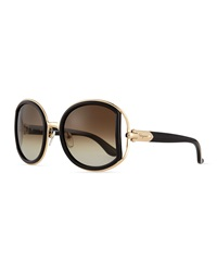 Salvatore Ferragamo Round Sunglasses With Buckle Detail Black