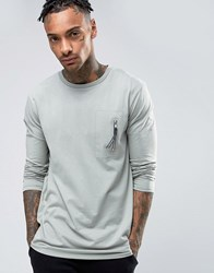 Asos Longline Long Sleeve T Shirt With Military Pocket And Puller Green