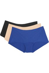 Commando Butter Set Of Three Stretch Micro Modal Briefs Blue