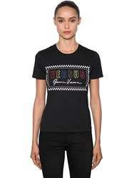 Versus By Versace Logo Printed Cotton Jersey T Shirt Black