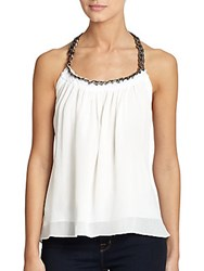 Ramy Brook Melissa Chain Link Halter Top Soft White