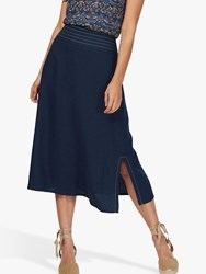 Brora Top Stitch Linen Skirt Navy