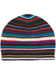 Paul Smith Striped Knitted Beanie Multicolour