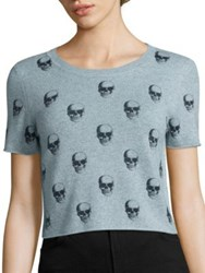 360Cashmere Livia Skull Print Cropped Cashmere Sweater Chambray Charcoal Skulls