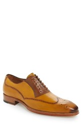 Mezlan Men's Kelvin Faux Wingtip Mustard Tan Leather