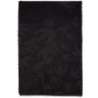Mcq By Alexander Mcqueen Black And Grey Swallow Cut Up Scarf