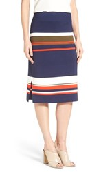 Women's Halogen Side Slit Knit Pencil Skirt Navy Olive Play Stripe