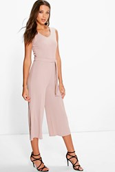 Boohoo Naomi Ribbed Tie Front Culotte Jumpsuit Sand
