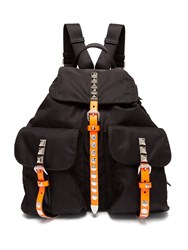 Prada New Vela Studded Nylon Backpack Black Orange