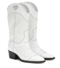 Ganni Exclusive To Mytheresa Leather Cowboy Boots White