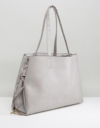 New Look Lace Up Tote Bag Mid Grey