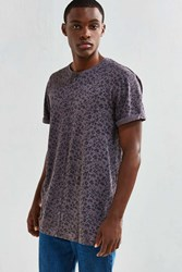 Urban Outfitters Uo Long Print Roll Sleeve Tee Washed Black