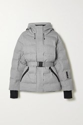 Ienki Ienki Sheena Hooded Belted Quilted Down Ski Jacket Light Gray