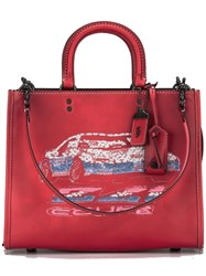 Coach Sequins Embellished Tote Red