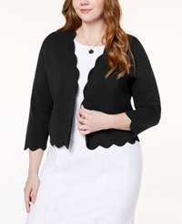 Charter Club Plus Size Scalloped Cropped Cardigan Created For Macy's Deep Black