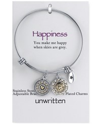 Unwritten Two Tone Crystal Accented You Make Me Happy Sun Charm Adjustable Bangle Bracelet In Stainless Steel Multi