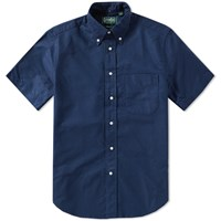 Gitman Brothers Vintage Short Sleeve Overdyed Oxford Shirt Blue