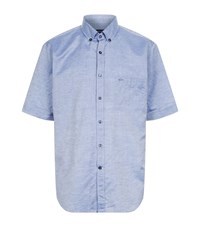 Paul And Shark Linen Cotton Short Sleeve Shirt Male Light Blue