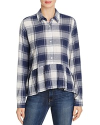 Birds Of Paradis Peplum Plaid Shirt Navy Plaid