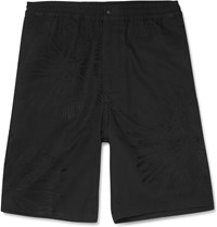 Sasquatchfabrix. Fireworks Embroidered Cotton And Linen Blend Shorts Black