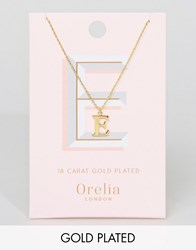 Orelia Gold Plated Large E Initial Necklace Gold