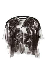 Monique Lhuillier Floral Embroidered Top Black