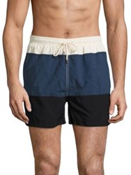 Solid And Striped Classic Colorblock Swim Trunks Navy Black