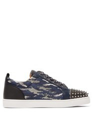 Christian Louboutin Louis Junior Studded Camouflage Jacquard Trainers Navy