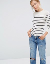Warehouse Bretton Stripe Crew Jumper Cream And Navy Multi