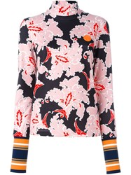 Msgm Floral Print Jumper Pink And Purple