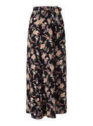 Miss Selfridge Black Floral Wrap Maxi Skirt Multi Coloured