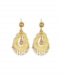 Jose And Maria Barrera Simulated Pearl Crystal Filigree Chandelier Earrings