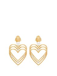 Balenciaga Crystal And Pearl Heart Clip On Earrings Gold