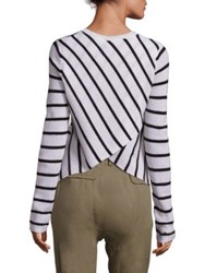 A.L.C. Tula Stripe Cashmere Sweater Black White