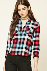 Forever 21 Buffalo Plaid Button Up Shirt Black Red