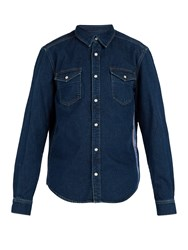 Givenchy Logo Jacquard Side Stripe Denim Shirt Blue