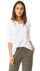 Wilt Shrunken V Neck Long Sleeve Mock Hem Tee White