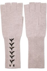 Autumn Cashmere Lace Up Fingerless Gloves Light Gray
