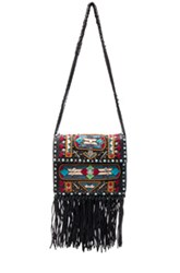 Valentino Santeria Fringe Shoulder Bag In Black