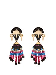 Etro Bead And Crystal Embellished Drop Earrings Pink