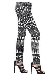 John Richmond Printed Cotton Stretch Denim Jeans Black White