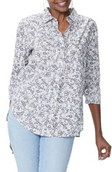 Nydj Classic Cotton Lawn Blouse Pacific Ditsy Pale Oak