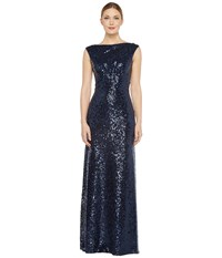 Donna Morgan Boat Neck Empire Waist Sequin Midnight Women's Dress Navy