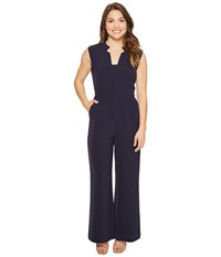 Tahari By Arthur S. Levine Petite Wideleg Jumpsuit Navy Women's Jumpsuit And Rompers One Piece
