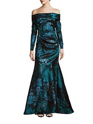 Theia Off The Shoulder Floral Print Gown Turquoise