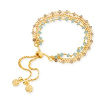 Azuni London Melina Three Strand Bracelet With Apatite And Labradorite Gold